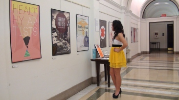 Girl Looking at Art Show